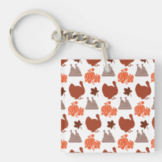 Thanksgiving Dinner Turkey Pumpkin Fall Harvest Double-Sided Square Acrylic Keychain