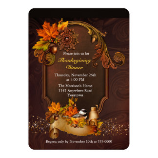 Thanksgiving Dinner with Autumn Leaves Card