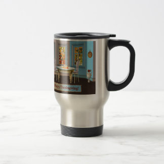 Thanksgiving Dinning Room with Picture Window 15 Oz Stainless Steel Travel Mug