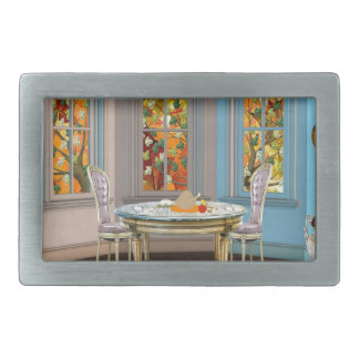 Thanksgiving Dinning Room with Picture Window Rectangular Belt Buckles