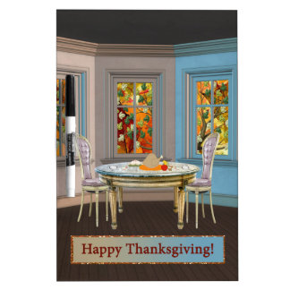 Thanksgiving Dinning Room with Picture Window Dry-Erase Whiteboards