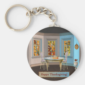 Thanksgiving Dinning Room with Picture Window Keychain