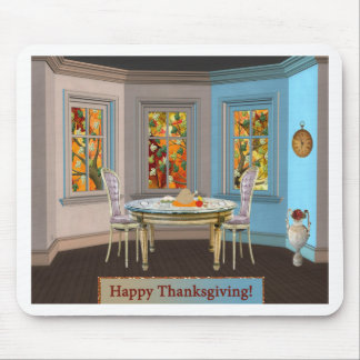 Thanksgiving Dinning Room with Picture Window Mouse Pad