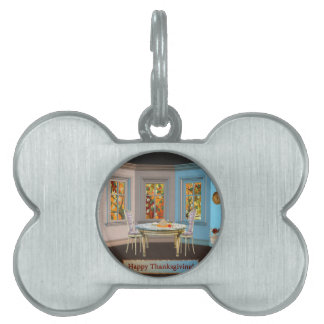 Thanksgiving Dinning Room with Picture Window Pet Name Tags