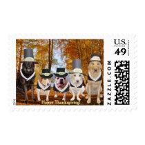 Thanksgiving Doggie Pilgrims Postage
