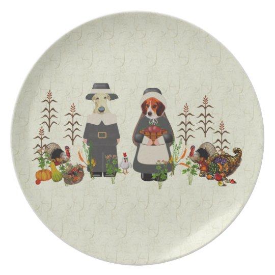 Thanksgiving Dogs Dinner Plate