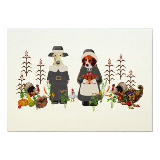 Thanksgiving Dogs 5x7 Paper Invitation Card