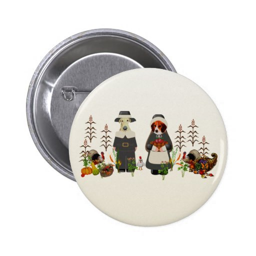 Thanksgiving Dogs Pinback Buttons
