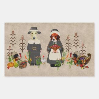 Thanksgiving Dogs Rectangular Sticker