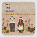 Thanksgiving Dogs Square Sticker
