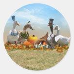 Thanksgiving Ducks Classic Round Sticker