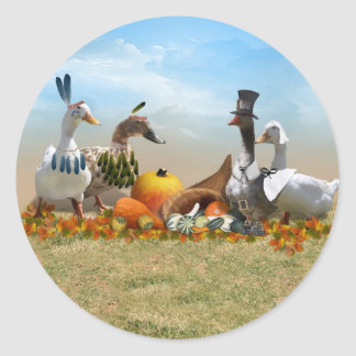 Thanksgiving Ducks Classic Round Sticker