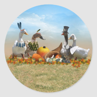 Thanksgiving Ducks - Pilgrims & Indians Classic Round Sticker