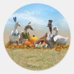 Thanksgiving Ducks - Pilgrims & Indians Classic Round Sticker