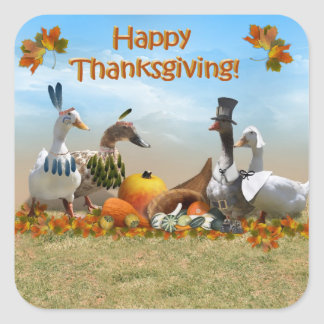 Thanksgiving Ducks Square Sticker