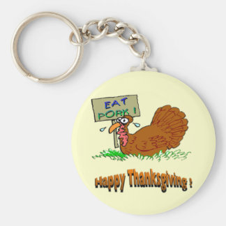 Thanksgiving Eat Pork Keychain