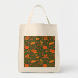 Thanksgiving Fall Autumn Pattern Grocery Tote Bag