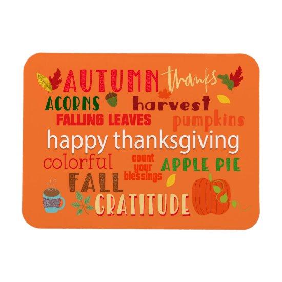 Thanksgiving Fall Autumn Word Art Magnet