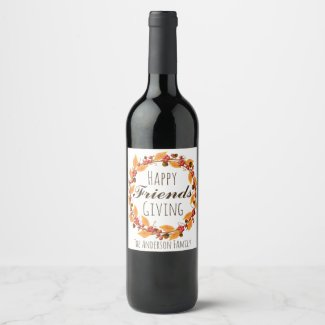 Thanksgiving Fall Autumn Wreath & Family Name Wine Label