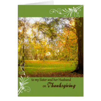 Thanksgiving Fall Colors for Sister & Husband Greeting Cards
