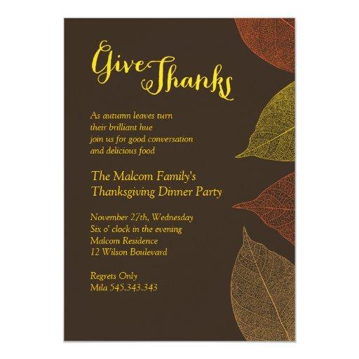 """Thanksgiving Fall Dinner Invitation 5"""" X 7"""" Invitation Card"""