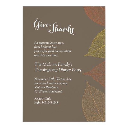 Thanksgiving Fall Dinner Invitation