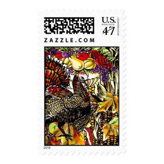 Thanksgiving Fall Festive Scene Illustration Stamp