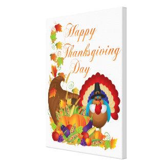Thanksgiving Fall Harvest Cornucopia and Turkey Canvas Print