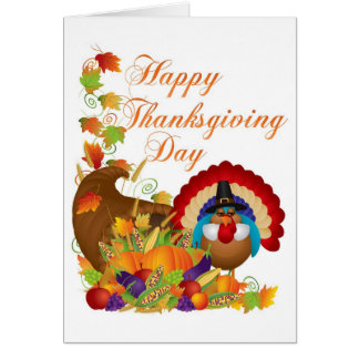 Thanksgiving Fall Harvest Cornucopia and Turkey Greeting Card
