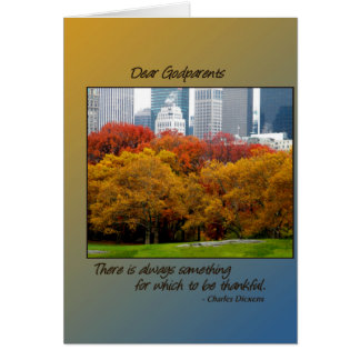Thanksgiving Fall in Central Park for Godparents Card