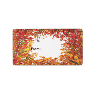 Thanksgiving Fall Leaf Circle Gift Tag