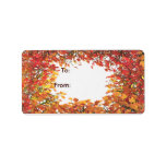 Thanksgiving Fall Leaf Circle Gift Tag Address Label