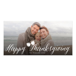 Thanksgiving Fall Leaves Simple Script Photo Card