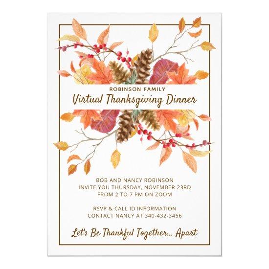 Thanksgiving Fall Leaves Virtual Dinner Invitation