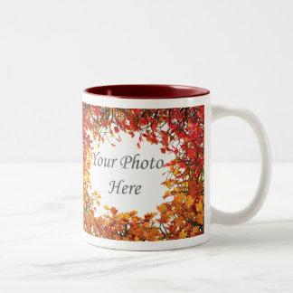 Thanksgiving Fall Tree Circle 2-Photo Frame Two-Tone Coffee Mug
