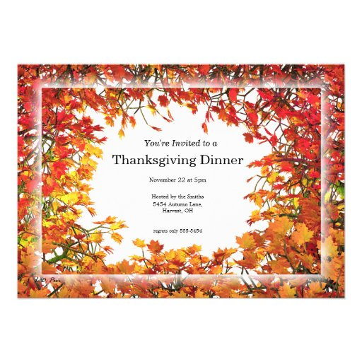 Thanksgiving Fall Tree Circle Personalized Invites