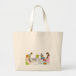 Thanksgiving Family Buffet Table Large Tote Bag