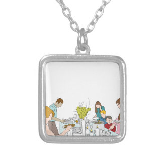 Thanksgiving Family Buffet Table Silver Plated Necklace