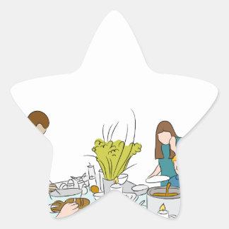 Thanksgiving Family Buffet Table Star Sticker