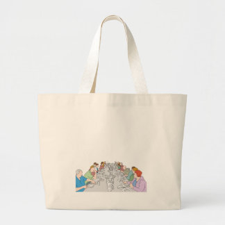 Thanksgiving Family Dinner Table Large Tote Bag