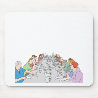 Thanksgiving Family Dinner Table Mouse Pad