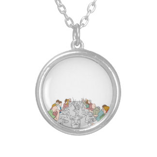Thanksgiving Family Dinner Table Silver Plated Necklace