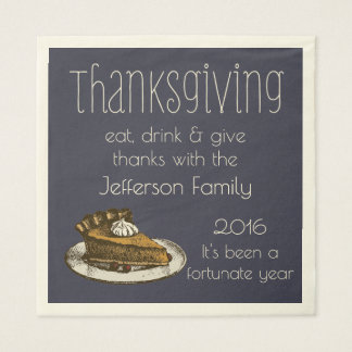 Thanksgiving Family or Event with Pie Custom Color Paper Napkin