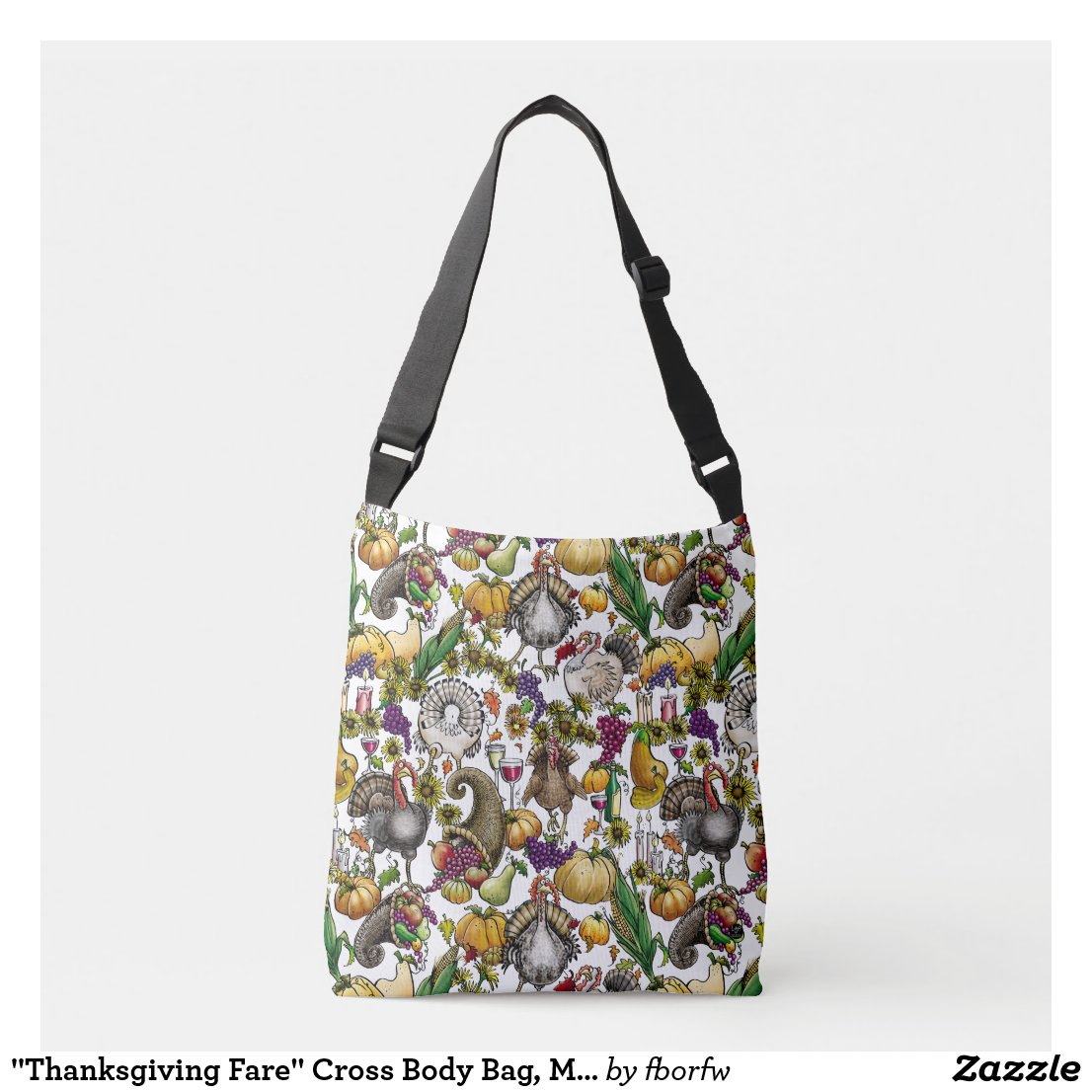 """Thanksgiving Fare"" Cross Body Bag, Medium"