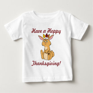 Thanksgiving Fawn Rabbit with Indian Headdress Baby T-Shirt