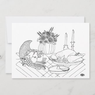 Thanksgiving Feast Coloring Book Postcard