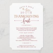 Thanksgiving Feast Custom Dinner Menu