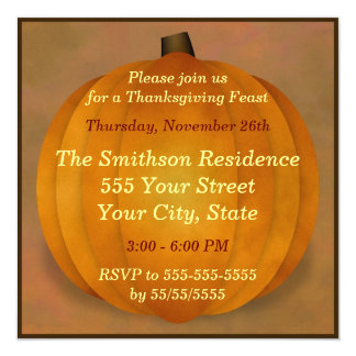 Thanksgiving Feast Dinner Country Rustic Pumpkin 5.25x5.25 Square Paper Invitation Card