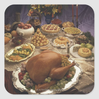 Thanksgiving feast square sticker