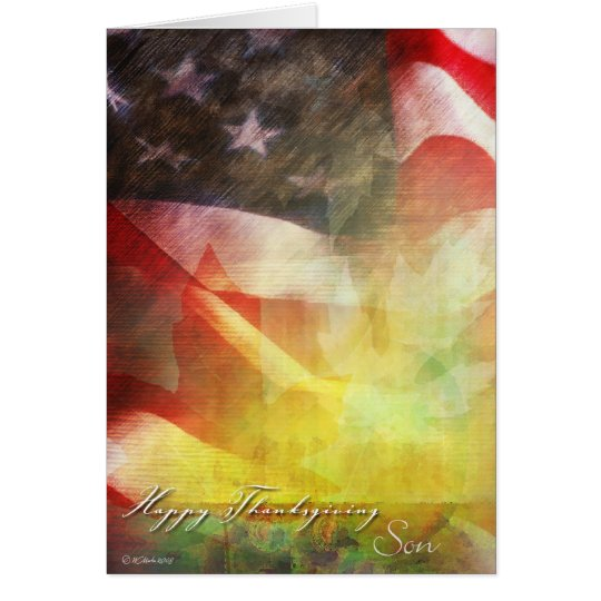 Thanksgiving Flag-Military Thanksgiving-Son Card
